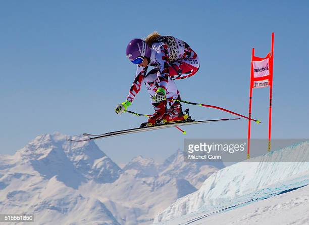 Michaela Kirchgasser of Austria in action during the Audi FIS Alpine Skiing World Cup downhill training on March 14 2015 in St Moritz Switzerland