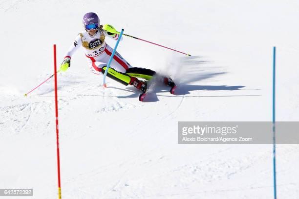 Michaela Kirchgasser of Austria in action during the FIS Alpine Ski World Championships Women's Slalom on February 18 2017 in St Moritz Switzerland