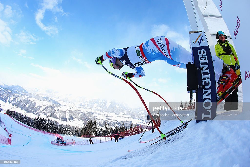 Michaela Kirchgasser of Austria leaves the start gate to ski in the Downhill section of the Women's Super Combined during the Alpine FIS Ski World Championships on February 8, 2013 in Schladming, Austria.