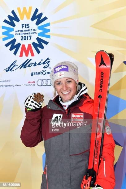 Michaela Kirchgasser of Austria poses with the bronze medal during the medal ceremony for the Women's Combined during the FIS Alpine World Ski...