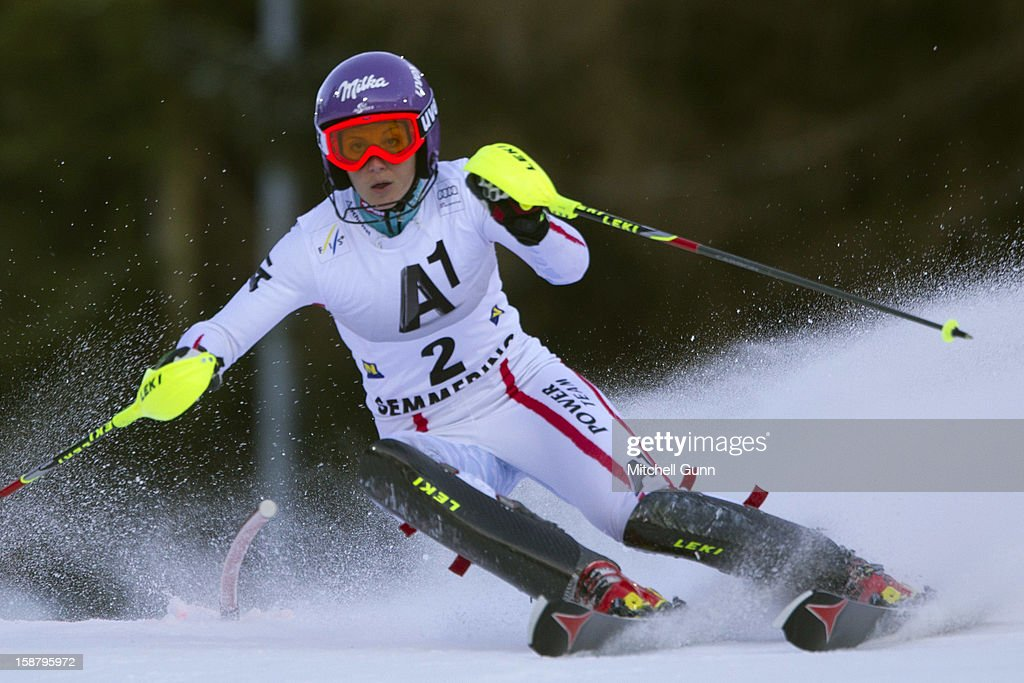 Michaela Kirchgasser of Austria races down the course whilst competing in the Audi FIS Alpine Ski World Cup Slalom Race on December 29, 2012 in Semmering, Austria.