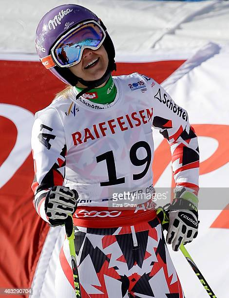 Michaela Kirchgasser of Austria reacts after crossing the finish of the Ladies' Giant Slalom in Red Tail Stadium on Day 11 of the 2015 FIS Alpine...