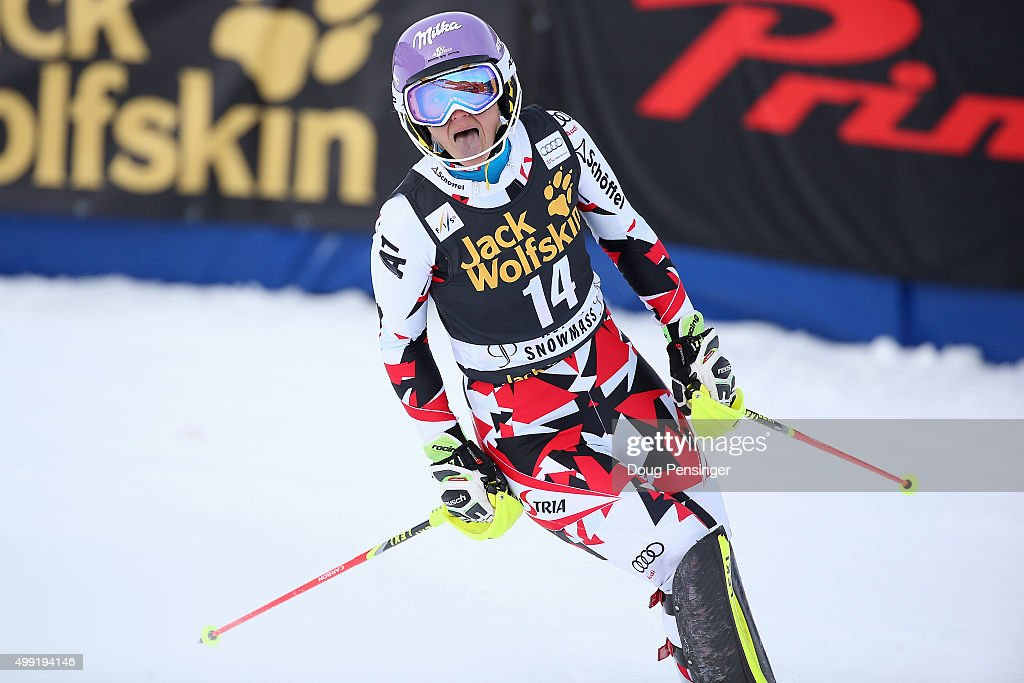 <a gi-track='captionPersonalityLinkClicked' href=/galleries/search?phrase=Michaela+Kirchgasser&family=editorial&specificpeople=722582 ng-click='$event.stopPropagation()'>Michaela Kirchgasser</a> of Austria reacts after her second run as she finished sixth in slalom during the Adui FIS Women's Alpine Ski World Cup at the Nature Valley Aspen Winternational on November 29, 2015 in Aspen, Colorado.