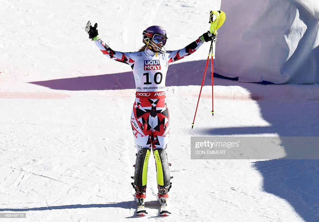 <a gi-track='captionPersonalityLinkClicked' href=/galleries/search?phrase=Michaela+Kirchgasser&family=editorial&specificpeople=722582 ng-click='$event.stopPropagation()'>Michaela Kirchgasser</a> of Austria reacts at the finish line after skiing off course in her second run during the 2015 World Alpine Ski Championships women's slalom February 14, 2015 in Beaver Creek, Colorado.