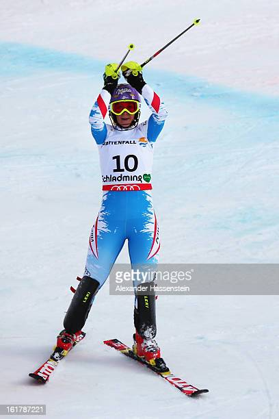 Michaela Kirchgasser of Austria reacts in the finish area after skiing on her way to finishing second in the Women's Slalom during the Alpine FIS Ski...