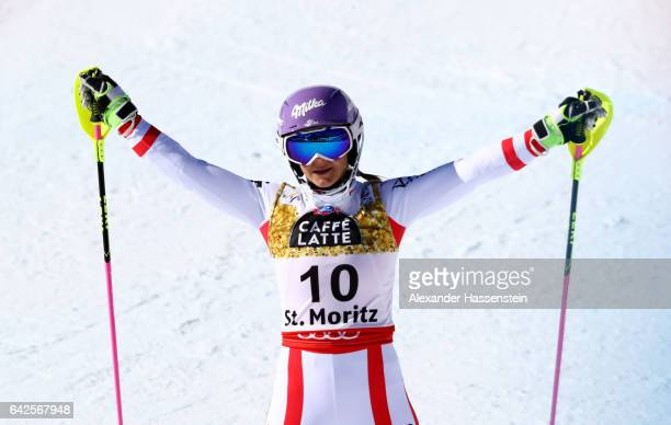 Michaela Kirchgasser of Austria reacts in the Women's Slalom during the FIS Alpine World Ski Championships on February 18 2017 in St Moritz...
