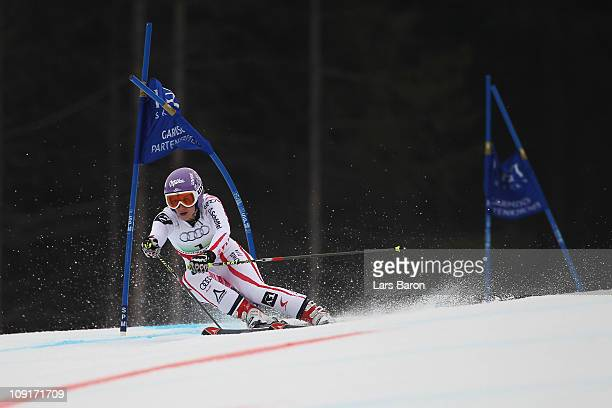 Michaela Kirchgasser of Austria skis in the Nations Team Event during the Alpine FIS Ski World Championships on the Kandahar course on February 16...