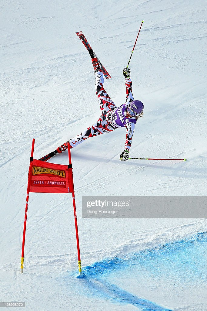 Michaela Kirchgasser of Austria skis off course as she competes in the first run of the giant slalom during the Audi FIS Women's Alpine Ski World Cup at the Nature Valley Aspen Winternational on November 27, 2015 in Aspen, Colorado.