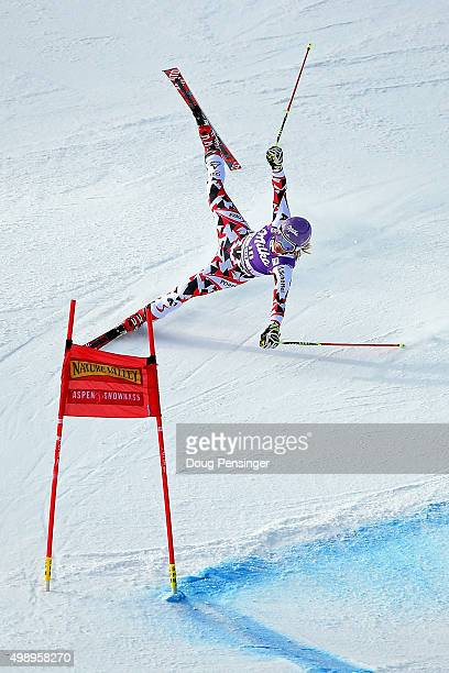 Michaela Kirchgasser of Austria skis off course as she competes in the first run of the giant slalom during the Audi FIS Women's Alpine Ski World Cup...