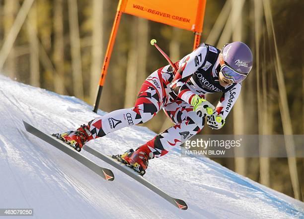 Michaela Kirchgasser of Austria skis the course during the 2015 World Alpine Ski Championships women's combineddownhill February 9 2015 in Beaver...
