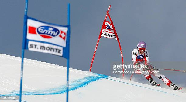 Michaela Kirchgasser of Austria takes 2nd place during the Audi FIS Alpine Ski World Cup Women's Super Combined on January 29 2010 in St Moritz...