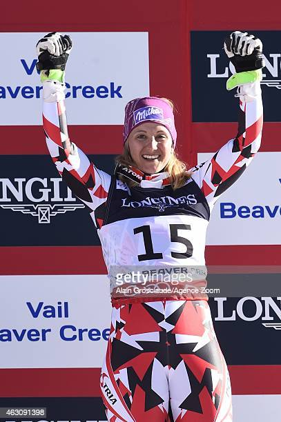 Michaela Kirchgasser of Austria wins the bronze medal during the FIS Alpine World Ski Championships Women's Super Combined on February 09 2015 in...