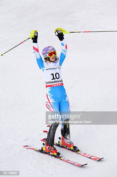Michaela Kirchgasser of Austria wins the silver medal during the Audi FIS Alpine Ski World Championships Women's Slalom on February 16 2013 in...