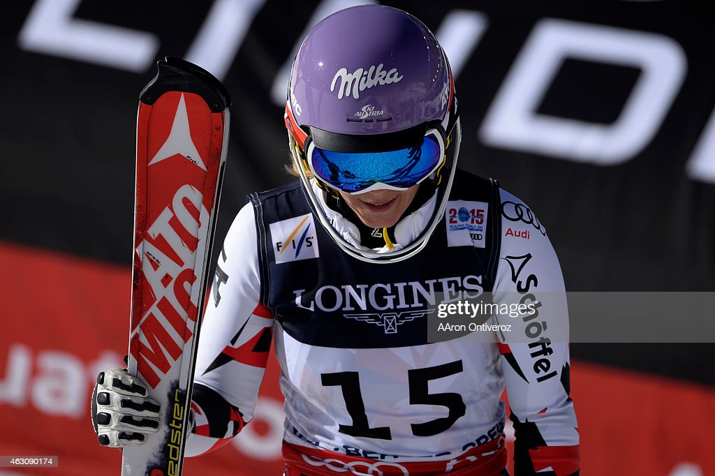 <a gi-track='captionPersonalityLinkClicked' href=/galleries/search?phrase=Michaela+Kirchgasser&family=editorial&specificpeople=722582 ng-click='$event.stopPropagation()'>Michaela Kirchgasser</a> reacts to her third place finish during the ladies' alpine combined final. FIS Alpine World Ski Championships 2015 on Monday, February 9, 2015.
