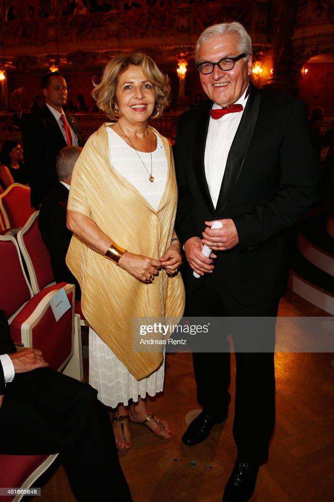 Michaela May and German Foreign Minister Frank Walter Steinmeier attend the Bernhard Wicki Award (Friedenspreis des Deutschen Films Die Bruecke) at Cuvilles Theatre on July 3, 2014 in Munich, Germany.