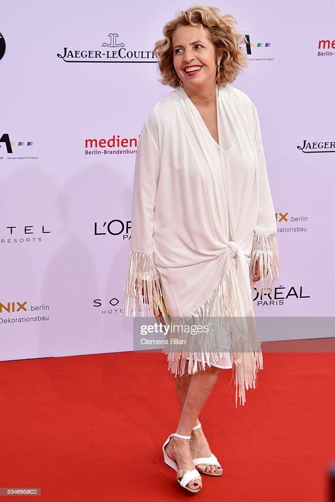 Michaela May attends the Lola - German Film Award (Deutscher Filmpreis) on May 27, 2016 in Berlin, Germany.