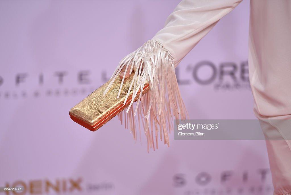 Michaela May, bag detail, attends the Lola - German Film Award (Deutscher Filmpreis) on May 27, 2016 in Berlin, Germany.