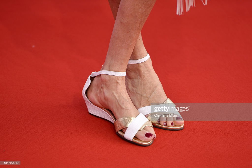 Michaela May, shoe detail, attends the Lola - German Film Award (Deutscher Filmpreis) on May 27, 2016 in Berlin, Germany.