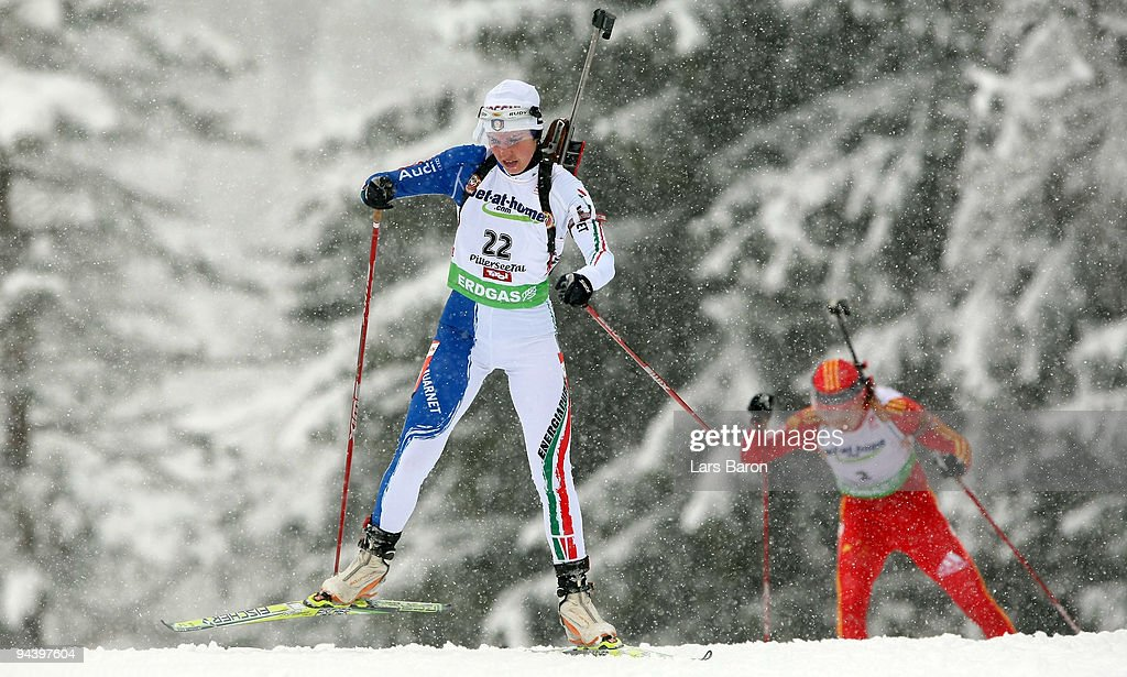 Michaela Ponza of Italy competes during the Women's 75 km Sprint in the IBU Biathlon World Cup on December 11 2009 in Hochfilzen Austria