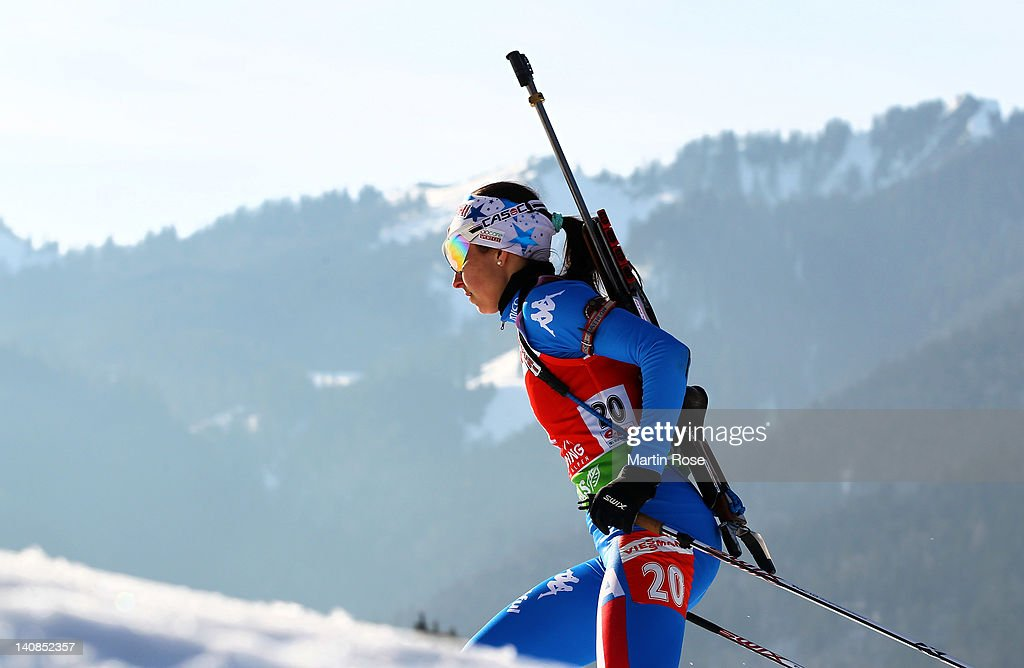 Michaela Ponza of Italy competes in the Women's 15km Individual during the IBU Biathlon World Championships at Chiemgau Arena on March 7 2012 in...
