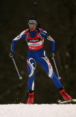 Michaela Ponza of Italy skis during the women's 75 km sprint in the Biathlon World Cup on January 12 2007 in Ruhpolding Germany