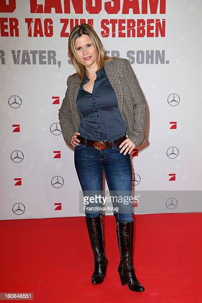 Michaela Schaffrath attends the German premiere of 'Die Hard Ein Guter Tag Zum Sterben' at the cinestar Potsdamer Platz on February 4 2013 in Berlin...
