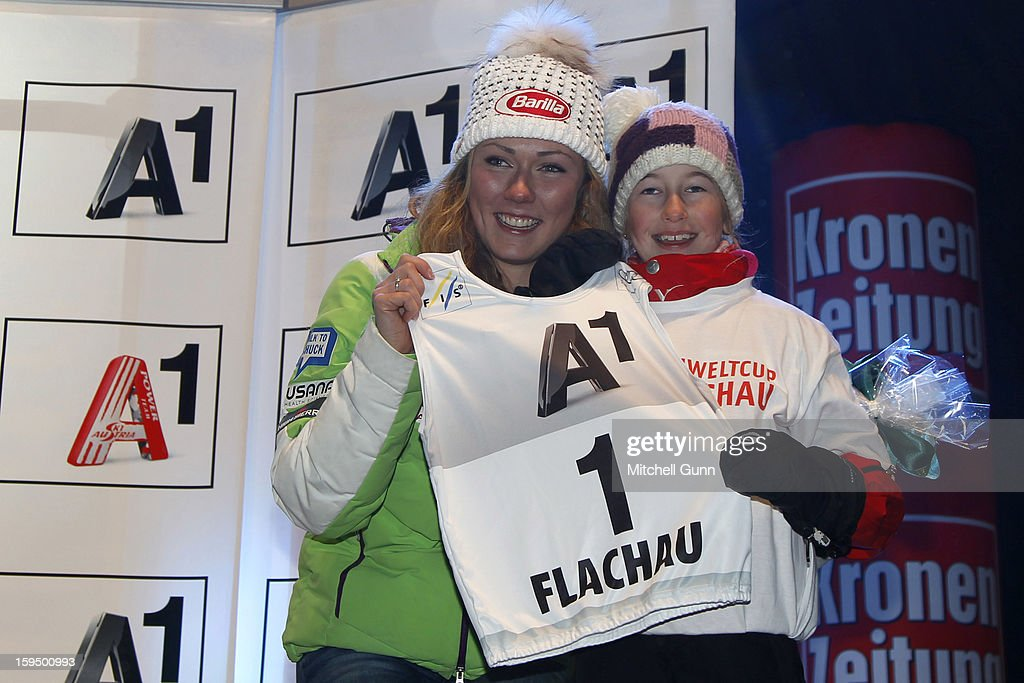 Michaela Schiffrin of the USA poses during the official race bib draw for the Audi FIS Alpine Ski World Cup Slalom race on January 14, 2013 in Flachau, Austria,
