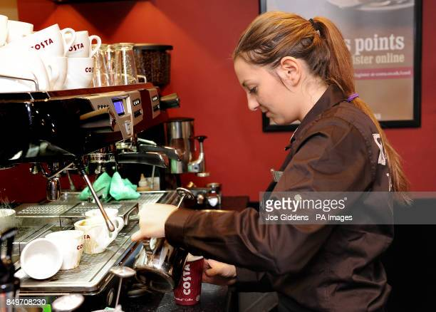 Michaela Seidnerova on her first day at work at Costa coffee in Mapperley Nottingham