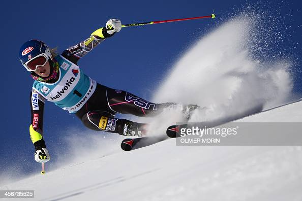 US Michaela Shiffrin competes during the first leg of the FIS Alpine World Cup Women's Giant Slalom on December 15 2013 in St Moritz AFP PHOTO /...