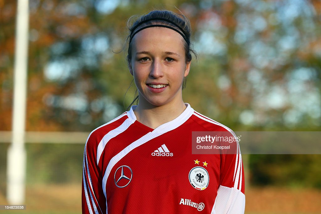 Michaela Specht poses during the Germany Women's U17 team presentation at Sport School Wedau on October 27, 2012 in Duisburg, Germany.