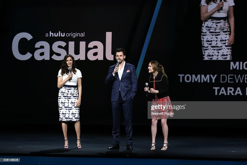 <a gi-track='captionPersonalityLinkClicked' href=/galleries/search?phrase=Michaela+Watkins&family=editorial&specificpeople=5985801 ng-click='$event.stopPropagation()'>Michaela Watkins</a>, Tommy Dewey, and <a gi-track='captionPersonalityLinkClicked' href=/galleries/search?phrase=Tara+Lynne+Barr&family=editorial&specificpeople=8221138 ng-click='$event.stopPropagation()'>Tara Lynne Barr</a> of Casual speak onstage at the 2016 Hulu Upftont on May 04, 2016 in New York, New York.