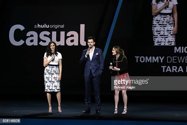 Michaela Watkins Tommy Dewey and Tara Lynne Barr of Casual speak onstage at the 2016 Hulu Upftont on May 04 2016 in New York New York