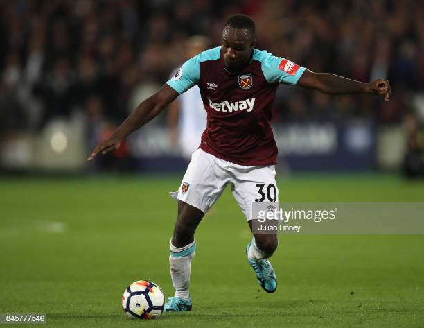 Michail Antonio of West Ham in action during the Premier League match between West Ham United and Huddersfield Town at London Stadium on September 11...