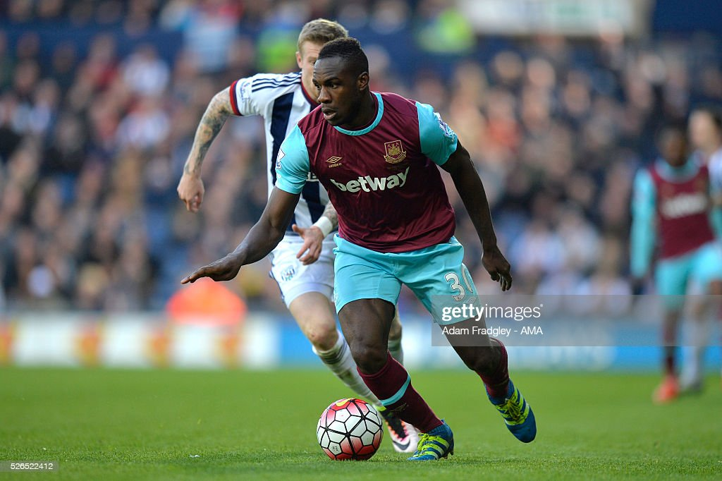 Michail Antonio of West Ham United in action during the Barclays Premier League match between West Bromwich Albion and West Ham United at The Hawthorns on April 30, 2016 in West Bromwich, United Kingdom.