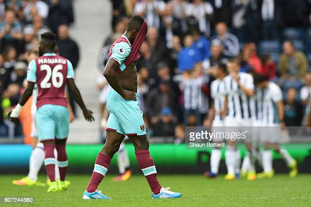 Michail Antonio of West Ham United shows dejection after his side concdede a goal during the Premier League match between West Bromwich Albion and...