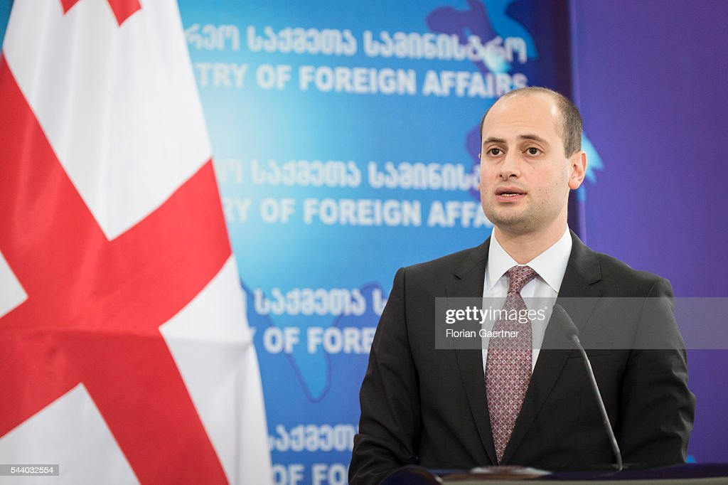 Michail Janelidze, Foreign Minister of Georgia, speaks to the media on July 01, 2016 in Tbilisi, Georgia. Walter Steinmeier visits the south caucasian countries Armenia, Azerbaijan and Georgia for political conversations.