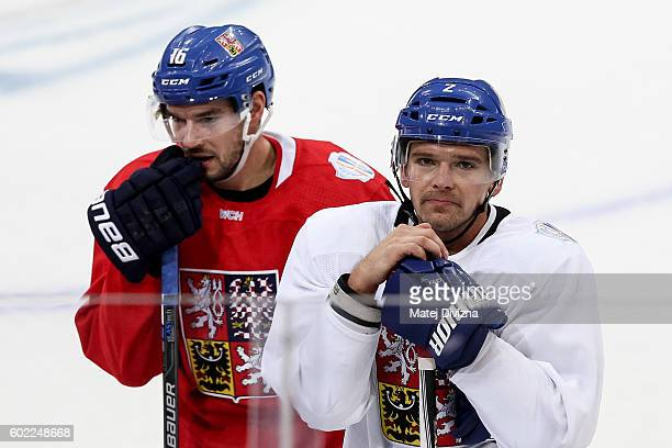 Michal Birner and Zbynek Michalek of Czech Republic attend a practice for the 2016 World Cup Of Hockey preparation match between Czech Republic and...