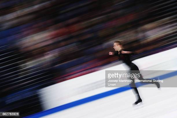 Michal Brezina of Czech Republic competes in the Men's Free Skating during day four of the World Figure Skating Championships at Hartwall Arena on...