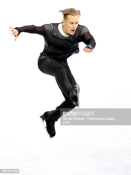 Michal Brezina of Czech Republic performs in men free skating during the ISU Grand Prix of Figure Skating at Brandt Centre on October 28 2017 in...