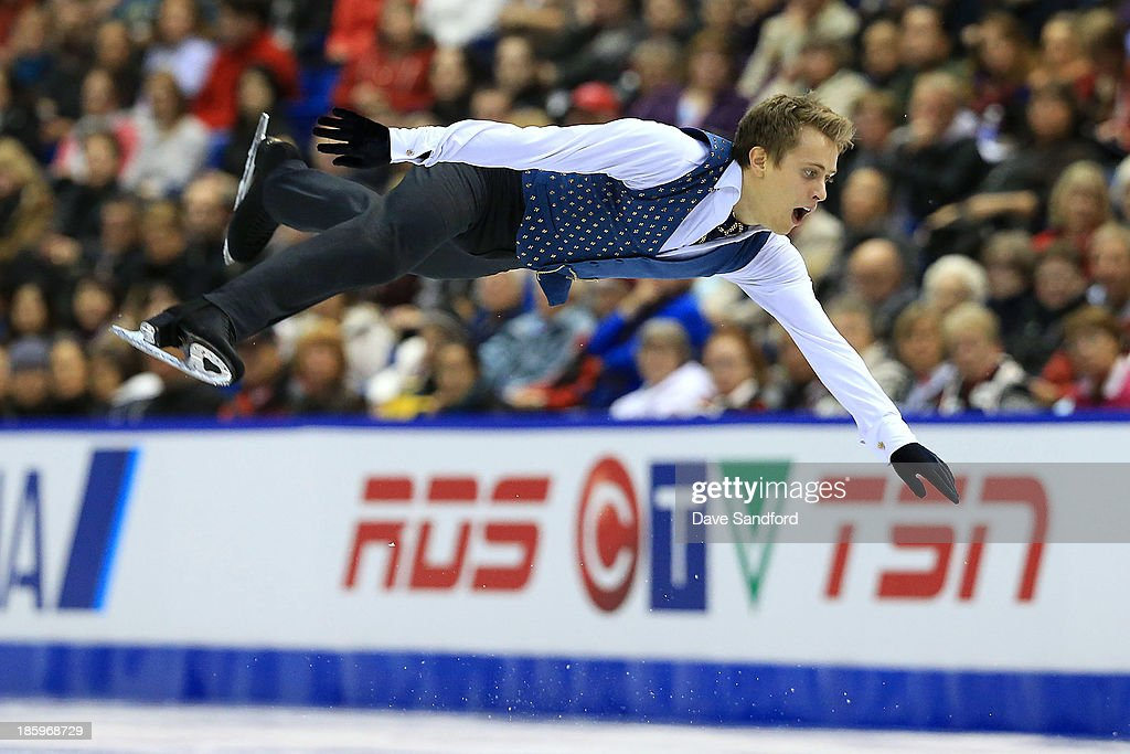 Michal Brezina of the Czech Republic skates during the men's free program on day two at the ISU GP 2013 Skate Canada International at Harbour Station on October 26, 2013 in Saint John, New Brunswick, Canada.