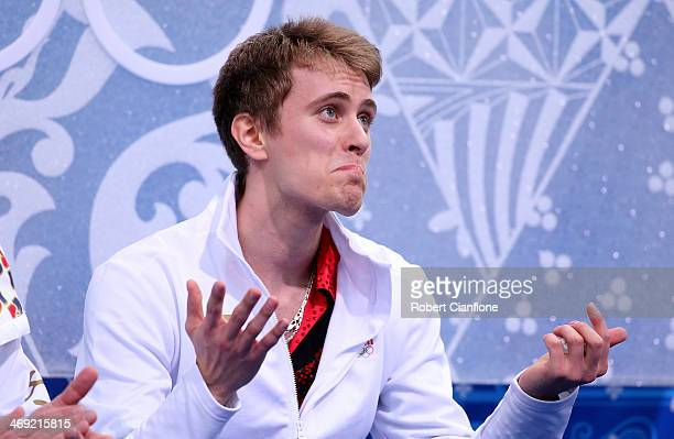 Michal Brezina of the Czech Republic waits for score after competing during the Men's Figure Skating Short Program on day 6 of the Sochi 2014 Winter...
