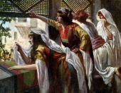 Michal despises David by J James Tissot Illustration to book of Samuel II 616 'And as the ark of the Lord came into the city of David Michal Saul 's...