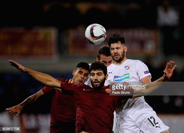 Michal Duris of FC Viktoria Plzen competes for the ball with Federico Fazio and Leandro Paredes AS Roma during the UEFA Europa League match between...