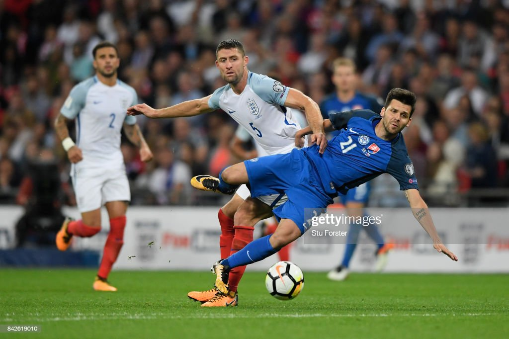 Michal Duris of Slovakia and Gary Cahill of England during the FIFA 2018 World Cup Qualifier between England and Slovakia at Wembley Stadium on September 4, 2017 in London, England.