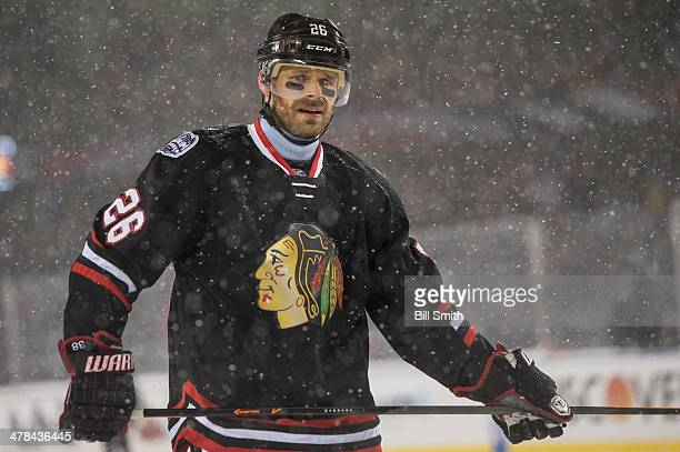 Michal Handzus of the Chicago Blackhawks looks on during the 2014 NHL Stadium Series against the Pittsburgh Penguins on March 01 2014 at Soldier...