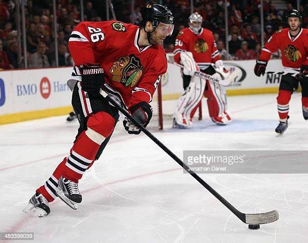 Michal Handzus of the Chicago Blackhawks moves against the Nashville Predators at the United Center on March 23 2014 in Chicago Illinois The...