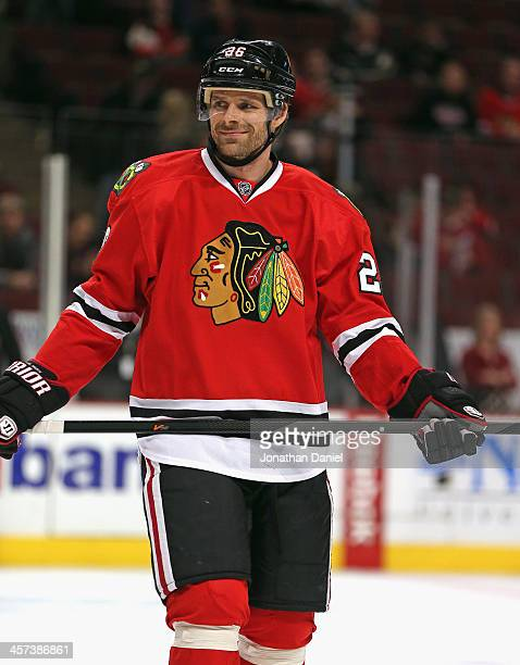 Michal Handzus of the Chicago Blackhawks participates in warmups before a game against the Philadelphia Flyers at the United Center on December 11...