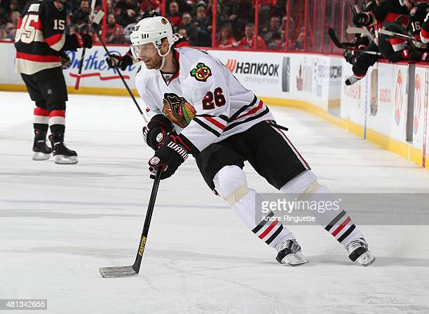 Michal Handzus of the Chicago Blackhawks skates against the Ottawa Senators at Canadian Tire Centre on March 28 2014 in Ottawa Ontario Canada