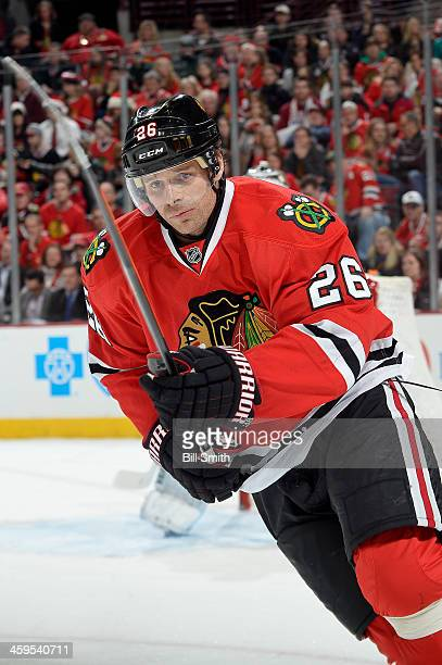 Michal Handzus of the Chicago Blackhawks skates down the ice during the NHL game against the New Jersey Devils on December 23 2013 at the United...