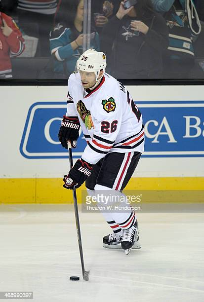 Michal Handzus of the Chicago Blackhawks skates during pregame warm ups prior to playing the San Jose Sharks at SAP Center on February 1 2014 in San...